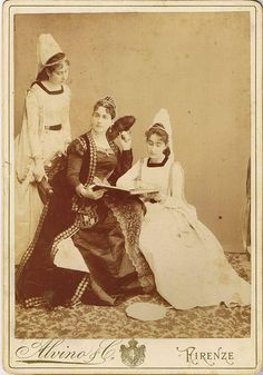 Looking every bit like a queen and two princesses, this image from 1875 depicts members of an (unidentified) aristocratic Italian noble family.