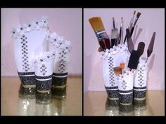Best Out Of Waste Shampoo Bottles transformed to Classy Table Organiser