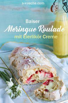 Rezept für Meringue Roulade mit Eierlikör Creme - Rezept mit und ohne Thermomix, knusprig-cremige Baiser Rolle, Pavlova Roll, wahlweise auch mit Frucht gefüllt
