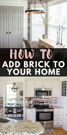 Update your kitchen with an Easy DIY Brick Backsplash! This affordable project is perfect for beginners who are looking for that classic farmhouse style! Southern Farmhouse, Farmhouse Style Kitchen, Farmhouse Decor, Vintage Farmhouse, Southern Living, Kitchen Nook, Kitchen Backsplash, Backsplash Ideas, Kitchen Ideas