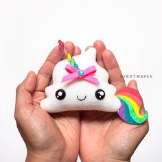 HECHO a la medida – unicornio caca lindo peluche Kawaii llavero