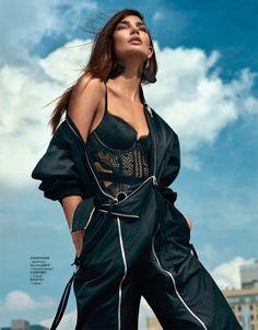 Lily Aldridge Models Lingerie Inspired Styles for ELLE China