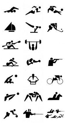 Funcion informativa Pictograms of the 1964 Tokyo Olympic Games by Katsumi Masaru. Japan Design, Olympic Icons, Olympic Logo, Olympic Games Sports, Olympic Gymnastics, Signage Design, Logo Design, Tokyo Olympics, 1964 Olympics