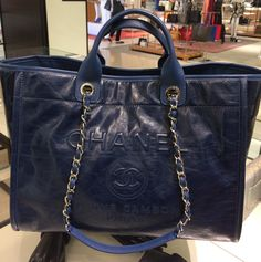 4e7429d556dd Chanel Navy Leather Deauville Tote Bag Chanel Tote Bag