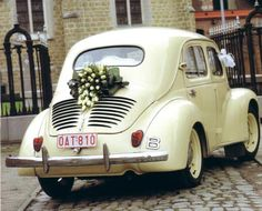so cute for after the wedding reception; much better than tin cans tied to the bumper