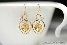 Yellow Gold Swarovski Crystal Earrings Wire by JessicaLuuJewelry