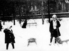 Huguette, left, and Andree Clark, apparently with the Clark mansion in the background.