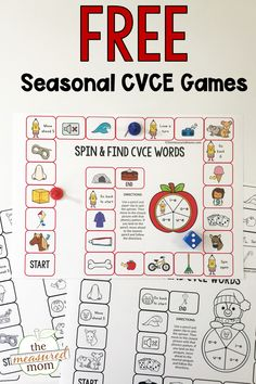 Grab these free printable games for teaching CVCE words! Great for teaching the concept of silent e to kids in kindergarten and up. Letter Sound Activities, Rhyming Activities, Phonics Activities, Literacy Games, Work Activities, Teaching Kindergarten, Teaching Reading, Teaching Phonics, Reading Skills