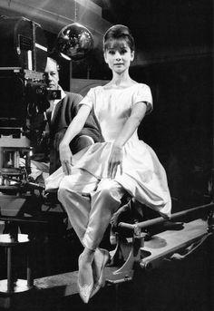 Audrey Hepburn on the set of Paris when it sizzles, 1962