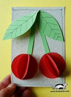 Paper Cherries : Cherries, what else could we use this with? Preschool Crafts, Diy And Crafts, Crafts For Kids, Arts And Crafts, Paper Crafts, Summer Crafts, Fall Crafts, Projects For Kids, Diy For Kids