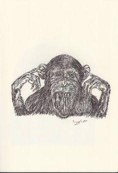 BALLPEN MONEKY 8 Ballpen, Monkeys, Fine Art Paper, Illustrator, Saatchi Art, Art Prints, Canvas, Drawings, Art Impressions