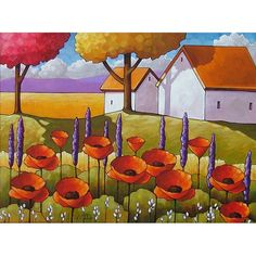 Cottage Barns Red Poppies Flower Blooms / Cathy Horvath Buchanan