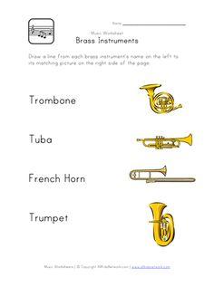 Brass Instruments Worksheet Fun Worksheets For KidsMusic WorksheetsBrass InstrumentFrench