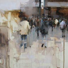 On the Street by Tibor Nagy Oil ~ 17,7 x 17,7