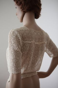 Cream Lace Blouse 1920s 1930s Women's Handmade by DOLLYSHOPco