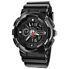 Ak1383 Alike Analogdigital Electronic Watch Fashion Sports Watch 50m Waterproof Diving Watch Alarm Clock Digital Wristwatches black ** To view further for this item, visit the image link.Note:It is affiliate link to Amazon.