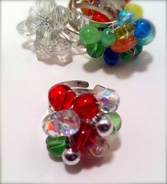Adjustable Ring in Red Green and Silver by ConstantlyUnfolding, $12.08
