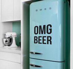 OMG BEER Fridge Sticker Vinyl Decal Alcohol by SkyhawkStickerDepot