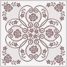 Crochet Circles, Crochet Doily Patterns, Crochet Art, Crochet Motif, Cross Stitch Art, Cross Stitch Flowers, Cross Stitch Embroidery, Cross Stitch Patterns, Filet Crochet Charts
