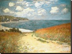 Path Through the Corn at Pourville, c.1882 Stretched Canvas Print by Claude Monet at Art.com