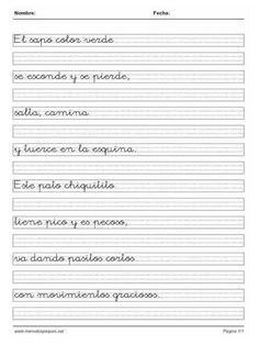Fichas Caligrafía 60 Spanish Worksheets, Calligraphy Letters, Cursive, Lettering, Writing, Handwriting Books, Cursive Handwriting Practice, Handwriting Practice, Writing Folders