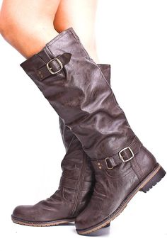 BROWN BUCKLE RIDING KNEE HIGH BOOTS