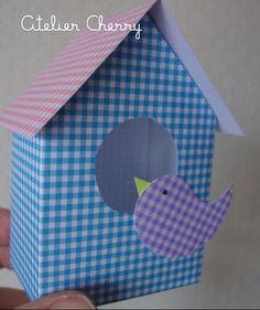 ATELIER CHERRY: Casa de passarinho em papel de scrapbook - Passo a Passo