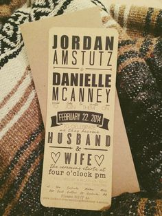 Typography Wedding Invitations and RSVP Cards on Etsy, $45.00