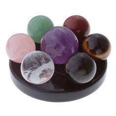 Top Plaza 7 Chakra Star Group Rock Healing Energy Gemstone Crystal Balls Statue Figurines Array on Obsidian Base (7 Healing Crystal Balls)
