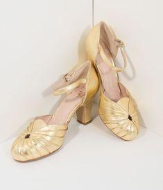 aa98e3f6df78e7 Miss L Fire 1940s Style Gold Sparkle Keyhole Amber Heels