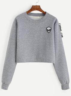 Grey Alien Patch Crop Sweatshirt