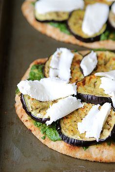 Vegetarian Naan Pizza with Eggplant & Cilantro Jalapeno Pesto Recipe (I bet this would be delicious grilled, too!) i want this in my mouth right now