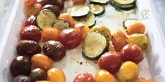 Baked tomatoes and courgettes
