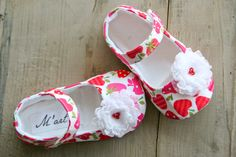 Strawberry baby girl outfit shoes, red pink white mary janes with chiffon flower, infant crib booties, summer shoes, baby shower gift idea on Etsy, $25.95