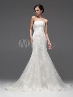 361€ Robe de mariée fabuleuse sirène ivoire en tulle avec dentelle bustier-No.2