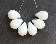 Large White Teardrops, czech glass Briolettes, white glass drps, raindrop - 10x14mm - 6Pc - 1349 by MayaHoney on Etsy