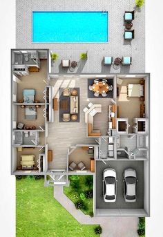 Modern House Plans: 59 Inspiring Models For Conf … – Plantas de Casas Modernas: … Sims House Plans, House Layout Plans, Dream House Plans, House Layouts, Family House Plans, Sims 4 Houses Layout, Sims 4 House Design, Bungalow House Design, Small House Design