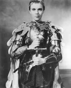 The above costume is an excellent example of a theatre costume being reused for a film. Archie Nathan's 1960 book Costumes by Nathan notes that the armor that Jean Seberg wore in the movie Saint Joan. Jean Seberg, Saint Joan Of Arc, St Joan, Jeanne D'arc, Female Armor, Female Knight, Lady Knight, Into The Fire, Jane Fonda
