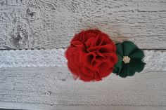 Large Red and Green Ruffle Flower Elastic Headband for Babies and Girls