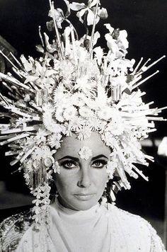 "Karl Lagerfeld's Headdress for Elizabeth Taylor in the 1967 Movie ""Boom!"""