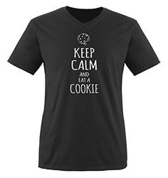 Comedy Shirts - KEEP CALM and eat a COOKIE - hombre V-Neck T-Shirt camiseta - negro / plateado tamaño M #camiseta #starwars #marvel #gift