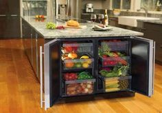 Mini fridge just for fruits and veggies. Maximizes space in the fridge!