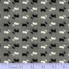 Cotton Aunt Grace Miniatures Scottie Dogs Plaid Fabric Print by the Yard D769.21 #MarcusFabrics