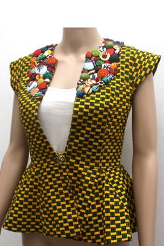 Yellow Print Waistcoat by Christie Brown Ghana ~Latest African Fashion, African women dresses, African Prints, African clothing jackets, skirts, short dresses, African men's fashion, children's fashion, African bags, African shoes ~DK