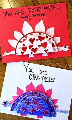 Mini Paper Plate Dinosaur Valentine #Craft for Kids Homemade Card idea- Crafty Morning