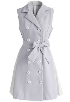 Stay Suave Double-breasted Coat Dress in Grey - New Arrivals - Retro, Indie and Unique Fashion