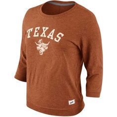 Nike Women's Three-Quarter-Sleeve Texas Longhorns T-Shirt ($20) ❤ liked on Polyvore