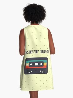 """""""Retro Cassette on Dots """" A-Line Dress by DinksiStyle   Redbubble"""