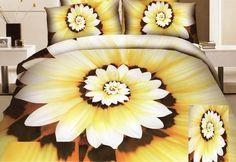 3D žltohnedé posteľné obliečky s kvetinovými lupeňmi