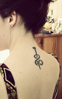 music tattoo, cello and bass clef